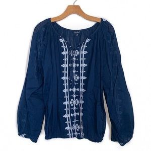 Lucky Brand | Sheer Blue Peasant Top